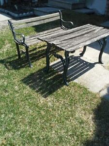 Wrought Iron Mini Bench and Table