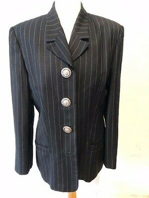 Versace Versus Black White Pinstripe Silver Medusa Head Button Blazer Jacket 14