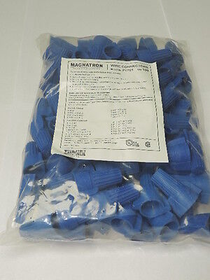 Bag Of 100 Blue Wire Connectors Winged Twist 14-6 Awg 600v 105c Screw Nut