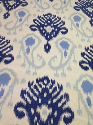 Ikat dark blue light blue cream background print cotton fabric by the yard
