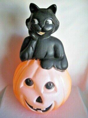 Vintage Halloween Blow Mold BLACK CAT IN PUMPKIN