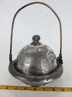 Antique Meriden B. Company Chilled Butter Dish Silverplate Caviar Flower DesignT