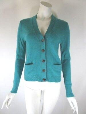 J.CREW Heather Teal Pure Italian Cashmere Cardigan Sweater Size S (Crew Heather)