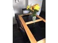 Solid Ash and Black Glass Dining Table and 6 Black Leather Chairs for Sale!