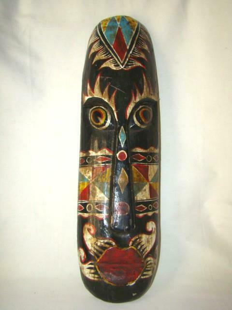 """Dramatic Vintage 20"""" Carved & Painted TRIBAL MASK, Balinese or Indonesian"""