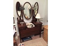 Lovely victorian dressing table good condition for age triple mirror