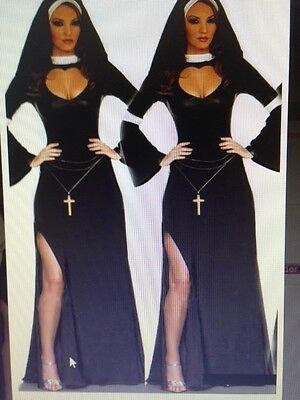 Womens Sexy Naughty NUN RELIGION VICAR Fancy Dress Costume Outfit (Religionen Kostüme)