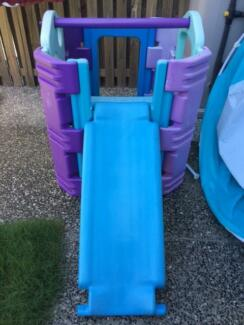 outdoor playhouse and slide