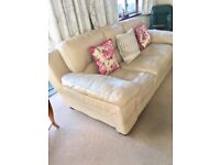 3 seater cream leather sofa and matching chair