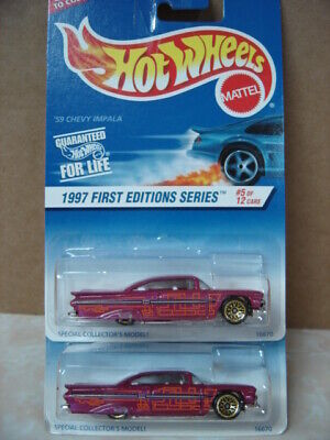 HOT WHEELS   LOT OF 2  1997 FIRST EDITIONS '59 CHEVY IMPALA LOWRIDERS 1/64 SCALE