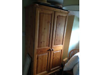 Pine wardrobe with 2 drawers (solid) in excellent condition