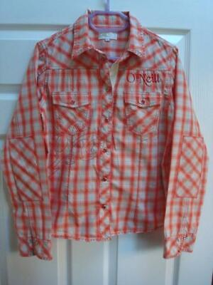 O'NEILL LARGE LADIES ORANGE CHECKED BLOUSE BARELY WORN EXCELLENT
