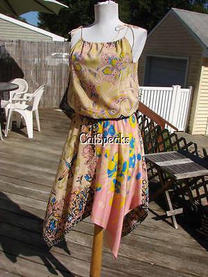 BETSEY JOHNSON RARE BIRD PRINT HANDKERCHIEF HEM SILK DRESS~4  **sale** (Handkerchief Dresses Sale)