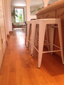 Set of 3 White Modern Metal bar stools for kitchen or dining