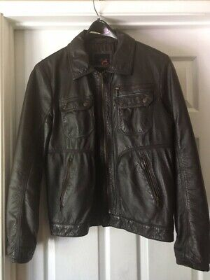 G By Guess Men's Dark Brown Leather Jacket (Size Medium) in Great condition
