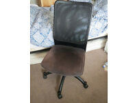 Office desk chair, padded brown seat, mesh back, on castors, from pet/smoke free home, furniture