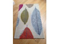 Marks & Spencer 100% wool floor rug with colored leaf print