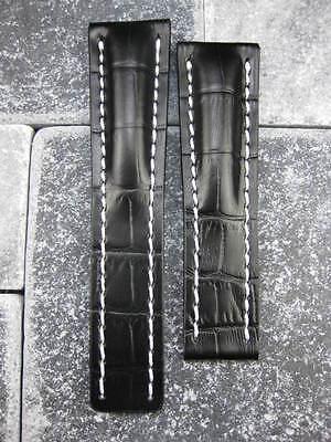 (24mm Leather Strap Black Deployment Watch Band BREITLING NAVITIMER Avenger)