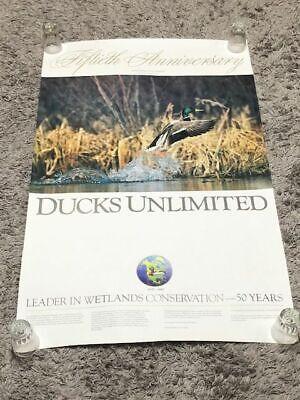 Ducks Unlimited 50th Fiftieth Anniversary Scott Nielsen Mallard Vintage Poster