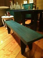 Teal/Ebony/Hand Crafted solid Spruce Bench