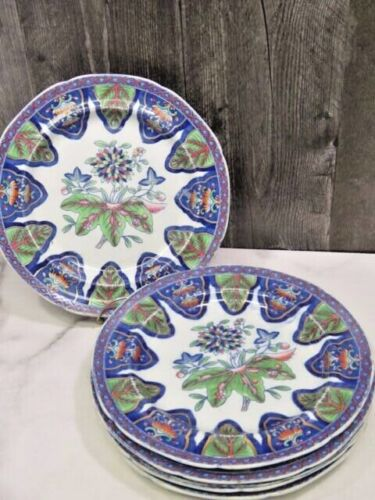 """6 RARE Antique Spode NEW STONE Radiating Leaves 3876 Blue Green Gold Plates 9.5"""""""