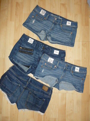 American Eagle AEO Women size 4 blue jean cargo cut-off booty chino shorts - Womens Booty Shorts