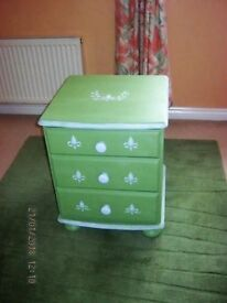 upcycled painted pine bedside cabinet