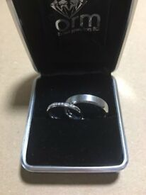 Gents & Ladies wedding bands, excellent condition, 18ct white gold, diamond set