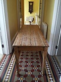 Beautiful rustic long pine table.