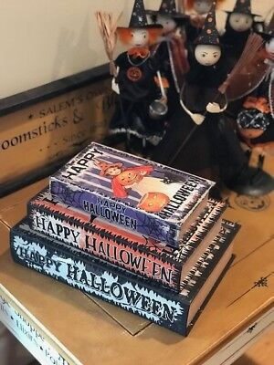 Set of 3 Faux Halloween Vintage Style Witch Post Card Spell Book Stash Boxes - Vintage Halloween Book Boxes