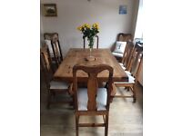 Mexican Style Oak Dining Table and 8 Chairs