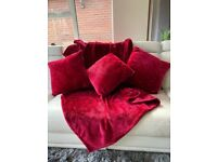 Supersoft red throw and cushions