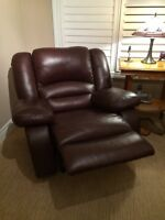 For Sale  Leather Reclining Couch and Chair