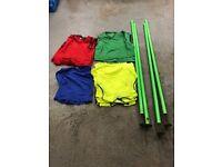Football training kit, 4 poles & 25 vest tops