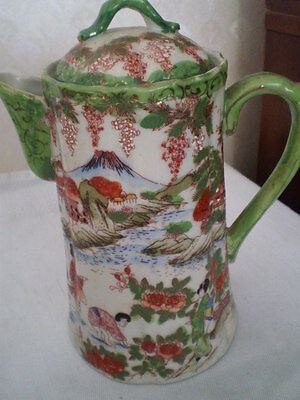 GORGEOUS VINTAGE ORIENTAL GREEN HAND PAINTED COFFEE/TEA/CHOC POT WITH LID -