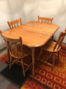 Pine Dining Room Table and Cupboard