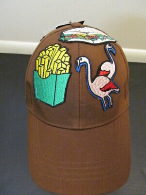 Zara Man Cap Hat, Brown with Patches, Size M