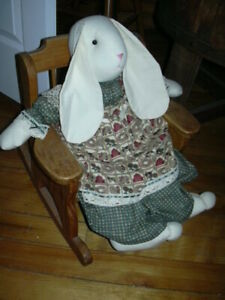 Country Easter bunny toy w/ solid wood rocking chair