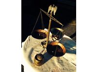 Antique Brass beam balance with lovely Eagle crest, Chinese fruit bowl, brass sweet barrel