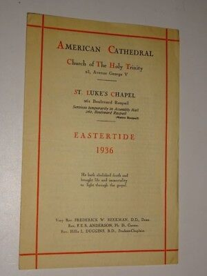 1936 American Cathedral Church Of The Holy Trinity St  Lukes Chapel Program