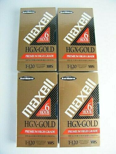 Maxell HGX-Gold T-120 6 Hour Premium High Grade Blank VHS Tape NEW SEALED Qty-4