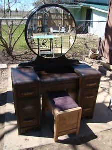 Wood  Makeup Vanity desk with mirror and stool...reduced to 140