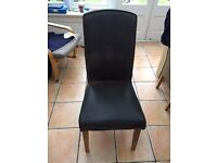 Set of six dining chairs, faux leather light oak legs
