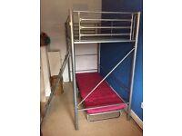 single high sleeper bed with futon