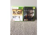 XBOX & XBOX 360 GAMES - RAGE / HALF LIFE 2 - £10 FOR 2 GAMES