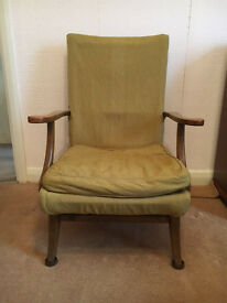 VINTAGE RETRO MID CENTURY PARKER KNOLL SOLID WOOD FRAME ARM CHAIR