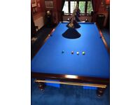 Full size blue baize snooker table inc. lights etc