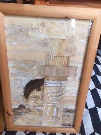 An Original Aboriginal Work of Art - a Bark Collage , Professionally Framed