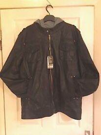 Mens Brand New PU Leather Jacket Size 4x -large