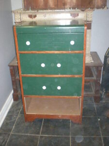 Three Drawer With Cubby Hole Wooden Dresser